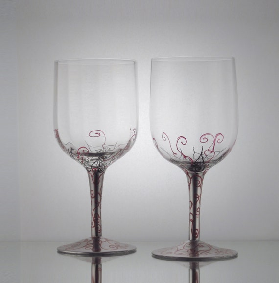 Set Of 2 Hand Painted Wine Glasses W By Littletouchofglass