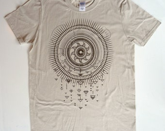 Solar Storm in Bark Brown on Sand Khaki Softstyle 100% Cotton Tee