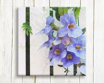 "Purple flowers on a white fence,  canvas art, 12""x12"""