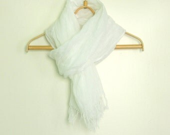 Line scarf, with knot fringe, Pure linen scarf, Summer linen scarf, Fashion scarves, White linen scarf