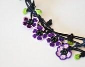 Purple Crochet Necklace Lavender Flowers Green Leaves Crochet Oya Necklace Beaded Lariat Jewellery, Beadwork, Crochet Jewelry ReddApple