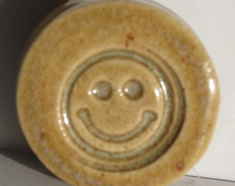 HAPPY FACE Magnet  - Autumn Leaf Art Glaze - Ceramic - Inspirational Art Piece