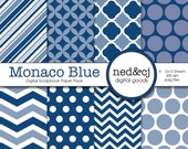Digital Scrapbook Paper Pack - Monaco Blue - 2013 Pantone Spring Collection - Navy Blue Digital Paper - INSTANT DOWNLOAD