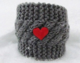 Red heart Mug Cozy, Tea Cup Cosy, Mug Warmer knitted, grey color, 2 red heart.