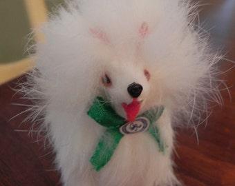 White Pomeranian Dog Handmade Real Rabbit Fur Figurine Made in Germany
