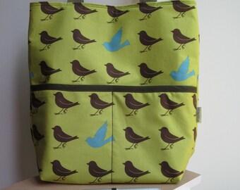 Retro Sparrows in Leaf Tote