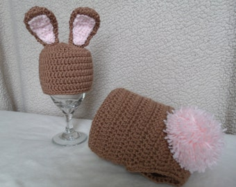 crochet Brown and Pink bunny hat and diaper cover set- size newborn-6months