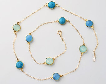 Faceted Turquoise, Aqua and Blue Chalcedony Gold bezel, long gold chain station necklace - Blueish Red Lollipop - December, March Birthstone