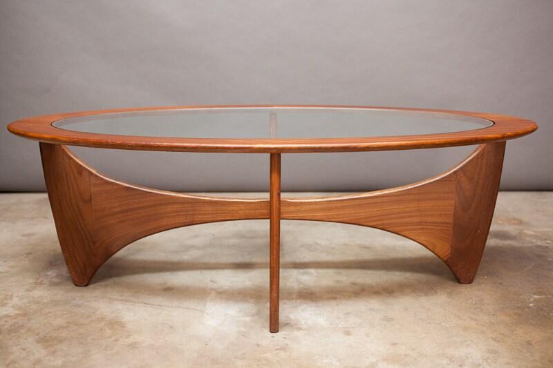 Danish Modern Mid Century Coffee Table Oval Biomorphic