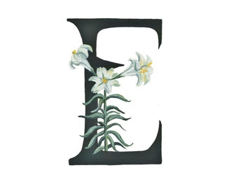E is for Easter Lily, Floral Alphabet 5x7 or 8x10 print