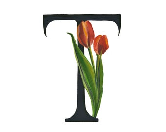 T is for Tulip, Floral Alphabet 5x7 or 8x10 print