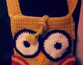 Crochet Golden Owl Retro Shoulder Bag Purse 70s Style Handmade with Secret Pockets Wool Blend OOAK Unique