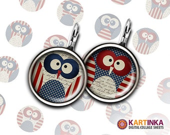 PATRIOTIC OWLS 15mm, 14mm, 13mm size Printable Download Digital Collage Sheet for Earrings Bottle Caps Cufflinks Pendants Rings Bracelets