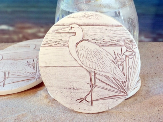 Egret absorbent clay drink coasters set of 4 - Drink coasters absorbent ...
