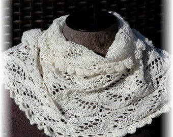 "Cashmere Lace Cowl / Infinity Scarf for Women / Ladies ""Lasqueti Island"", hand knit in pure Cashmere READY TO SHIP"