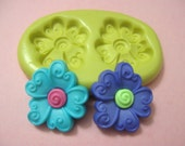 Whimsical Daisy Swirl Flower Button Duo Flexible Silicone Polymer Clay Soap Chocolate Fondant Push Mold - Food Grade 19x22mm