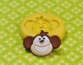 Monkey Face Big Grin Smile  Flexible Silicone Polymer Clay Soap Chocolate Fondant Push Mold - Food Grade 28x19mm