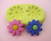 Whimsical Swirl Flower 2 Cavity Flexible Silicone Polymer Clay Soap Chocolate Fondant Push Mold - Food Grade 20x20mm