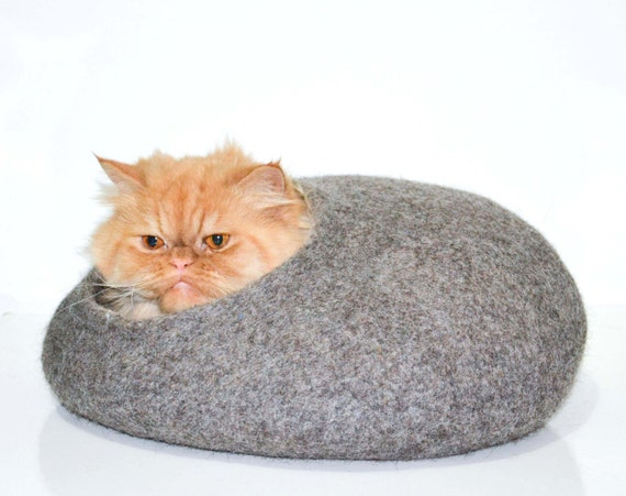 Cat cave / Pet bed  Cat bed Cat house Cats cave pets dog house Natural  Grey