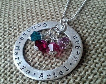 Mom Necklace - Mother Necklace-Family Necklace - Silver Washer Swarvoski Crystal Birthstones by Stamped Evermore
