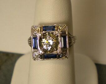 14K White Gold .91 Diamond Blue Sapphire Square Face Ring