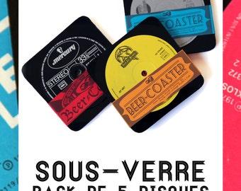 Beer coaster - 5 pieces per parck - vinyl vintage 33 trs -