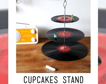 Cupcake stand, vinyl vintage, red