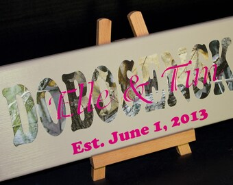 Camoflauge Wedding, CAMO Family Name, Established Date, Wood Sign, CAMO Wedding Gifts, Bridal Shower or Anniversary