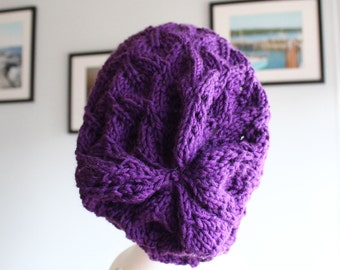 Knit Lace Hat - Slouchy Hat with Leaf Motif in Purple - READY TO SHIP