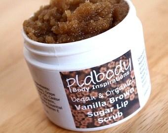 Vegan Vanilla Brown Sugar Lip Scrub, Organic Lip Polish, 2 Ounce