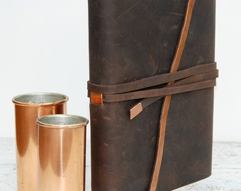 Custom Leather Bound Journal Handmade Personalized Planner Watercolor Art Sketchbook Notebook Gift Diary Copper Handmade to Order (123B)