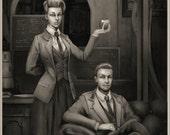 "Bioshock Infinites Rosalind and Robert Lutece portrait 9""x12"""