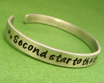 Peter Pan Inspired - Second Star To The Right And Straight On 'Til Morning - A Hand Stamped Bracelet in Aluminum - READY TO SHIP