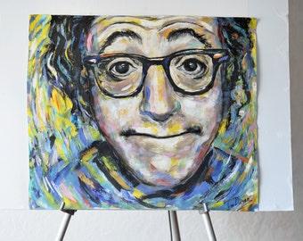 Portrait of Woody Allen Original  Painting