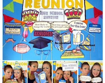 High School Reunion photo booth props perfect for bringing back school spirit and to impress former classmates