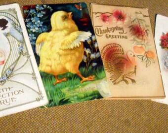 4 Vintage 1909 - 1913 Post Cards, 1 Thanksgiving, 1 Easter, 1 True Affection, 1 Vintage Lady
