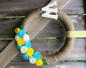 """14"""" or 16"""" Monogrammed Turquoise, Yellow and Cream Burlap Wrapped Rosette Spring Wreath OR Create Your Own Wreath"""