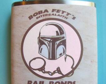 Star Wars, Flask, Boba Fett, Funny, Groomsmen Gift, Wedding Party, Boyfriend Gift, Whisky,  Intergalactic Bail Bonds - Version Two