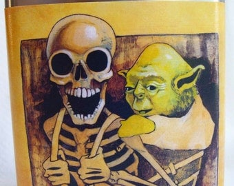 Star Wars, Yoda,  Flask , Father's Day Gift, Groomsmans Gift, Skull, Star Wars Art, Master Yoda,- Taking it to the MAX