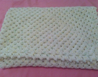 Crochet White Baby Afghan Blanket with Green and Yellow Speckles, Granny Square, Infant, Unisex, Soft, Cute