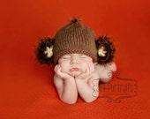 Baby Monkey Hat , Newborn, Handmade, Knitted, Great Photo Prop, Animal, Halloween, Adorable, Newborn or0-3 Months