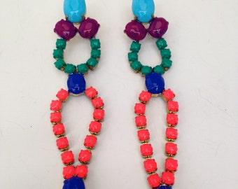 Neon Dangle Vintage Rhinestone Earrings