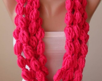 Pink Wool Infinity Scarf  - Crochet Scarf
