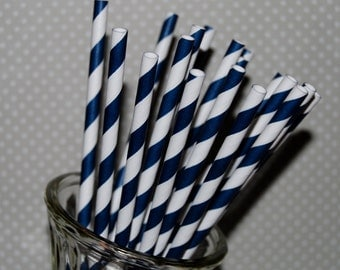 Stripe straws 100 NAVY BLUE  and white paper straws  barber striped paper drinking straws with FREE Flags / Pendants. vintage party straws