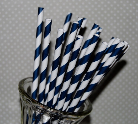 paper straws - 25 NAVY BLUE stripe straws  barber striped paper drinking straws - with FREE Flags / Pendants template vintage party straws