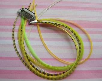 Hair Feather Extensions Clip In Lime Green and Yellow