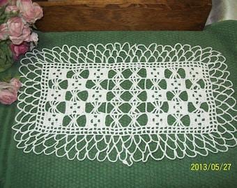 Rectangle White hand crochet Doily block pattern
