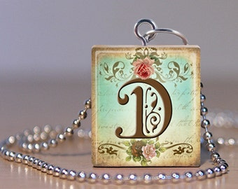 """Scrabble Jewelry - Alphabet Letter D - Choose Pendant or Necklace - French Vintage Rose Initial - Alphabet Jewelry - Charm - 18"""" Chain"""