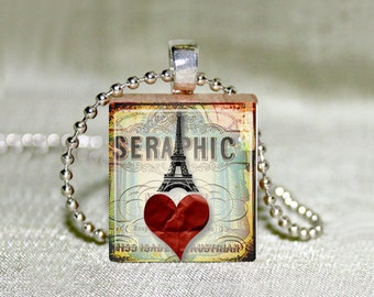 """Scrabble Jewelry - """"Seraphic"""" Eiffel Tower Heart - Choose Pendant or Necklace - French Jewelry - Charm - 18"""" Chain"""