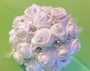 Ribbon Rose Bouquet, Satin Rose Bouquet - White rose bouquet accented with rhinestone (Large, 8 inch)